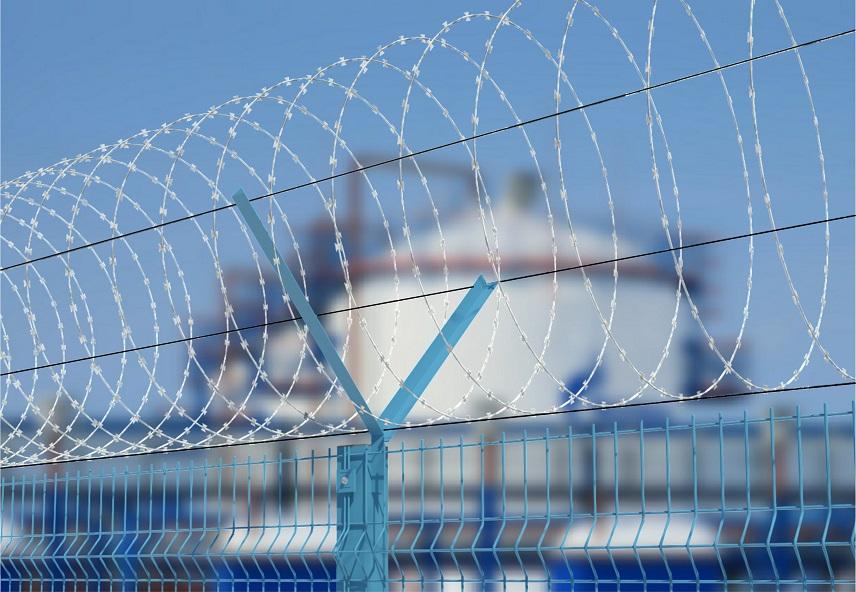 колючая проволока егоза на заборе