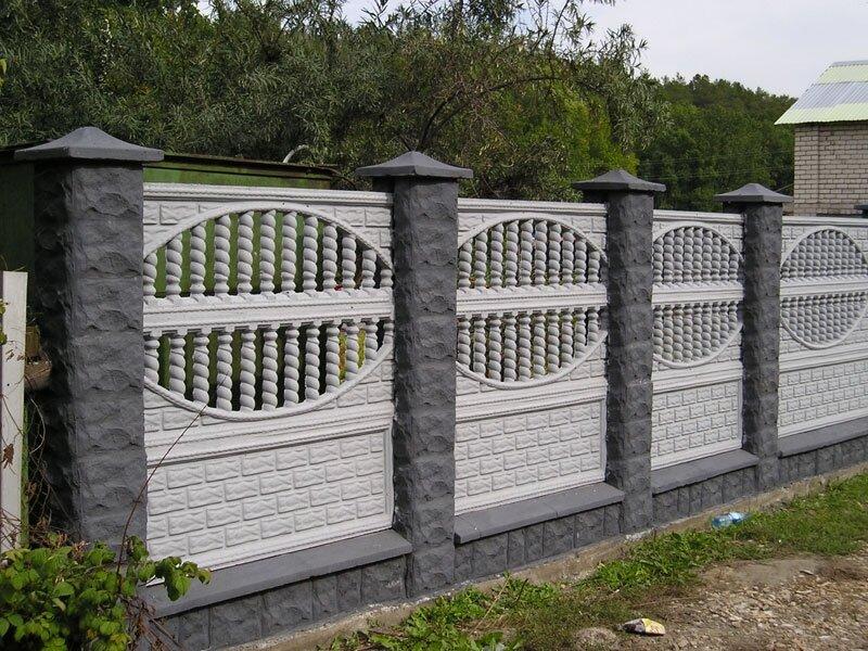 заборов из бетона и кирпича
